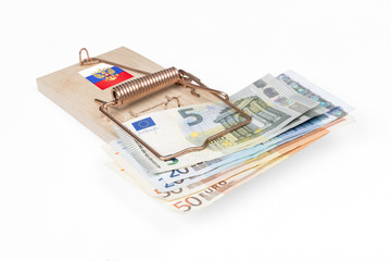 Russian mouse trap with Euro bill isolated with clipping path