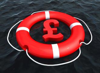 Pound sterling symbol in lifebuoy