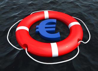 Euro symbol in lifebuoy