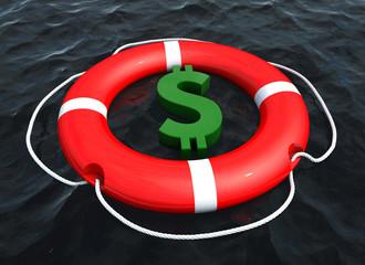 Dollar symbol in lifebuoy