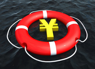 Yen symbol in lifebuoy