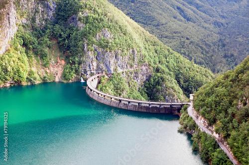 Fotobehang Dam Speccheri dam, Alps, province of Trentino-Alto Adiges, Bolzano,