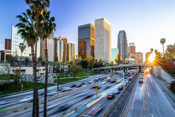 Los Angeles downtown buildings skyline highway traffic