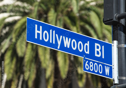 Aluminium Los Angeles Hollywood Blvd street sign in Los Angeles