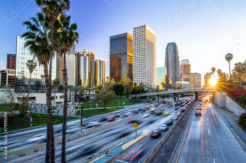 Poster Los Angeles Los Angeles downtown buildings skyline highway traffic
