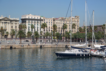Yachts in the old harbor of Barcelona