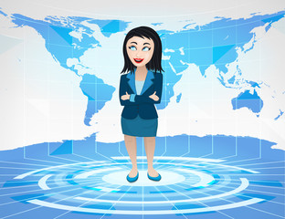 business woman standing in blue virtual studio with world map