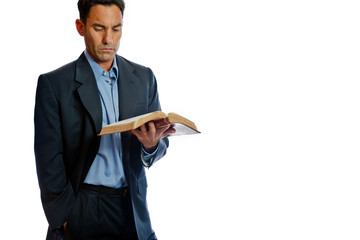 Well dressed man reading the Bible