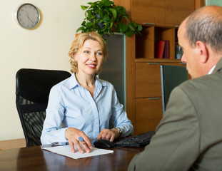 Public notary with senior client