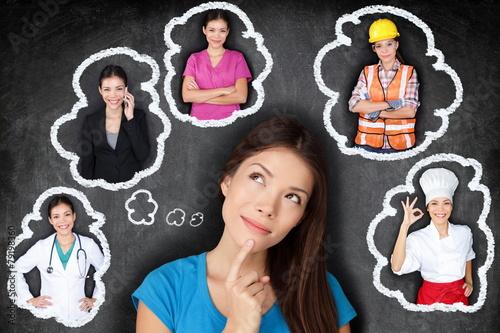 Leinwanddruck Bild Career choice options - student thinking of future