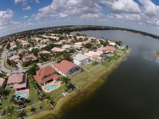 Waterfront homes seen from above