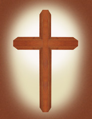 brown wooden ornate walnut cross with parchment background