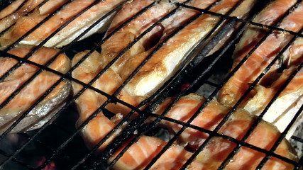 skewers of grilled trout on a black backgroud