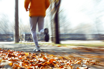 Young man jogging at park
