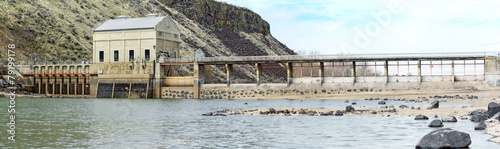 Historic dam on a river in Idaho - 79199178