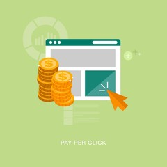 vector pay per click concept illustration