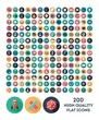 set of 200 high quality vector flat icons - 79199578