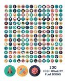 set of 200 high quality vector flat icons