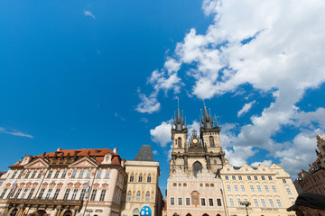 View of Prague on bright summer day