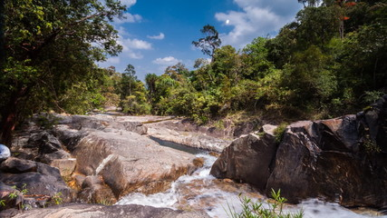 Timelapse of passing cloud at  Ton Nga Chang waterfall in Thaila