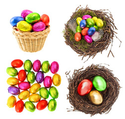 Chocolate and colored easter eggs in gold, red, green