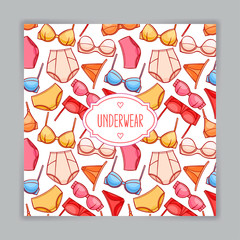 card with colorful female underwear