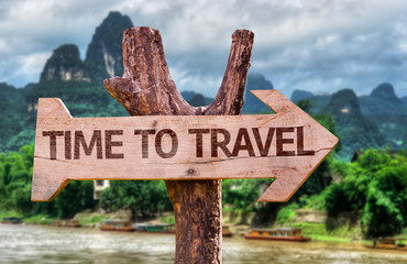 Time to Travel wooden sign with forest background