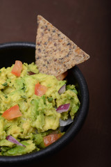 guacamole and bean chip