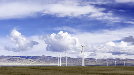 Electricity producing windmills on an Idaho field