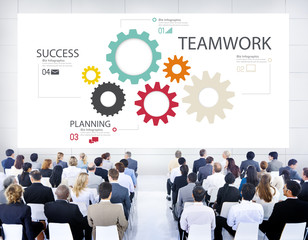 Teamwork Team Group Gear Partnership Cooperation Concept