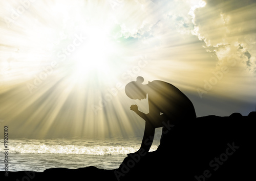 Poszter Silhouette of woman praying to god