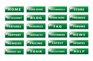 Set of popular website buttons version 6
