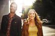 couple taking a walk through down town los angeles usa