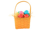 Easter dyed eggs in wooden square shaped basket