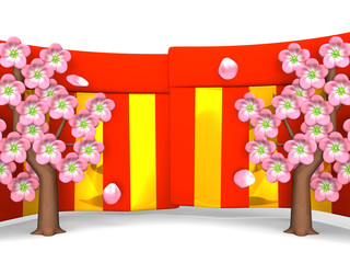 Cherry Blossoms And Red-Gold Curtains On White Background
