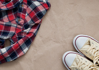 Checked shirt and shoes