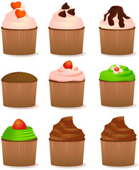 Various cupcake vector images