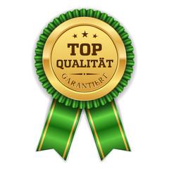 Goldener Top Qualität Siegel Mit Grüner Scherpe