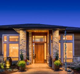 Beautiful Home Exterior at Sunset