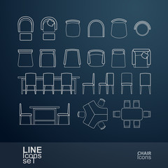 Set chairs and table line icons, vector illustration
