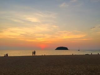 Kata beach sunset with tourists