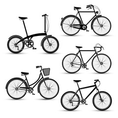 silhouette of Bicycles icon set vector illustration