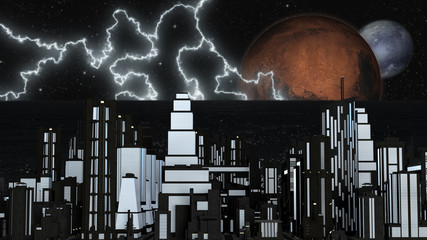 Night Futuristic City with two Planets and Stars