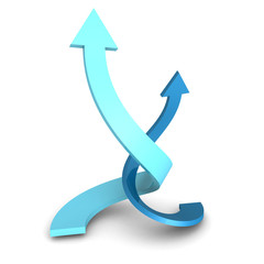 Two Rising Up Twisted Blue Arrows On White Background