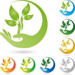 Logo, Pflanze, Blätter, Hand, Heilpraktiker