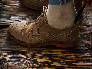 Suede brogue shoe