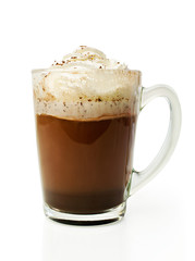 Hot chocolate with whipped cream in a glass bowl
