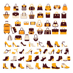 vector set Silhouette collection of fashion accessories