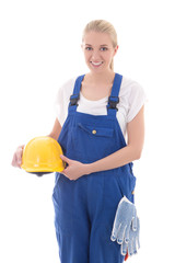 happy woman in blue builder uniform holding yellow helmet isolat