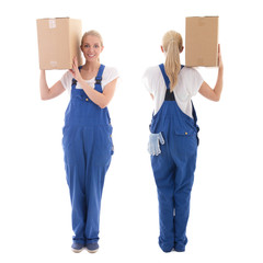 delivery concept - front and back view of woman in blue workwear